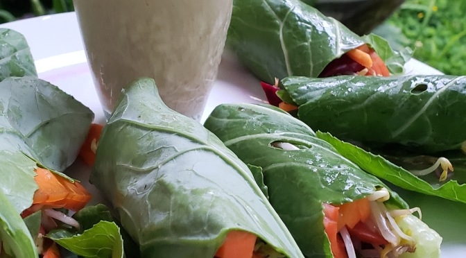 Collard Green Wraps with a Super Sweet & Nutty Coconut Date Tahini Sauce